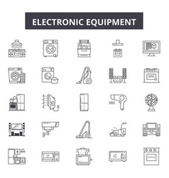 electronic equipment line icons signs set vector image