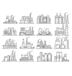 Factory building line style set indistrial vector