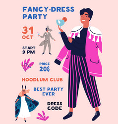 fancy dress party poster design colorful placard vector image