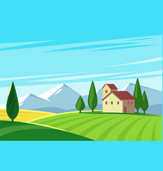 Farmland rural natural landscape with mountains vector
