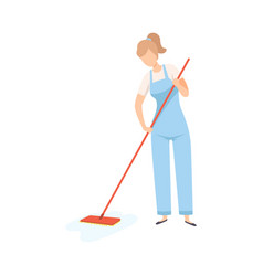female professional cleaner mopping floor vector image
