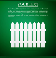 Fence icon on green background vector