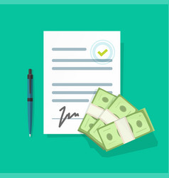 financial contract with money giving vector image