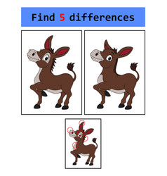 find 5 differences donkey vector image