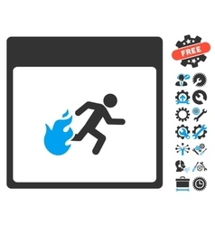 Fire Evacuation Man Calendar Page Icon With vector