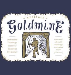 font goldmine craft retro vintage typeface design vector image