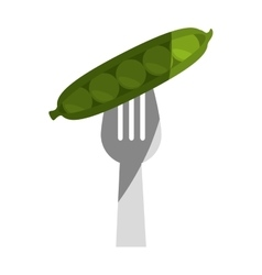 fork with fresh vegetable isolated icon vector image