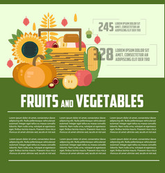 fruits and vegetables template vector image