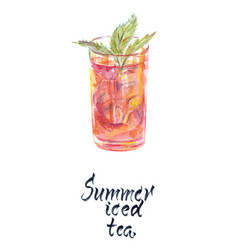 Glass summer iced tea vector