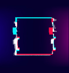 Glitch square frame distorted old effect colored vector