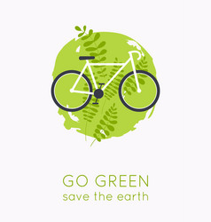 go green logo bicycle with grass eco transport vector image