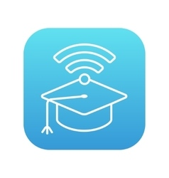Graduation cap with wi-fi sign line icon vector image