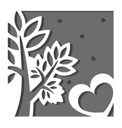greeting card in square with a tree and hearts vector image