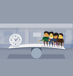 group asian business people vs time on balance vector image