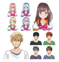 Group young people anime style characters vector