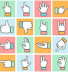 Hand icon colorful thin line set vector