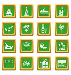 Happy birthday icons set green vector