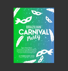happy brazilian carnival day carnival green and vector image
