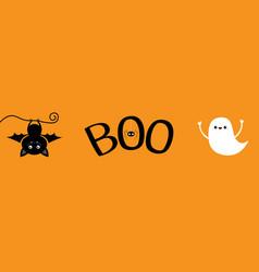 Happy halloween banner flying ghost spirit bat vector