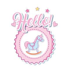 hello cute baby cartoon vector image