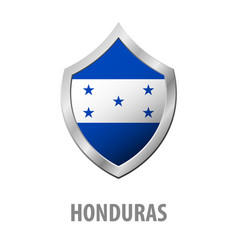 honduras flag on metal shiny shield vector image