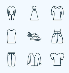 Icons line style set with evening wear swimming vector