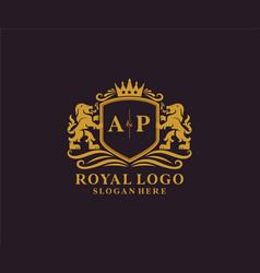 Initial ap letter lion royal luxury logo template vector