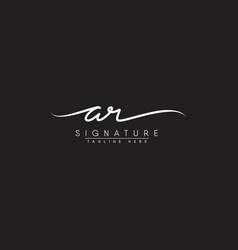 Initial letter ar logo - handwritten signature vector