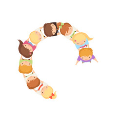 Kids dancing in circle holding hands cute vector