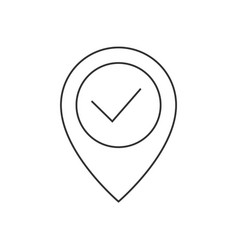location pin with check mark line icon vector image