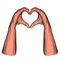 low poly hands in triangle heart shape vector image