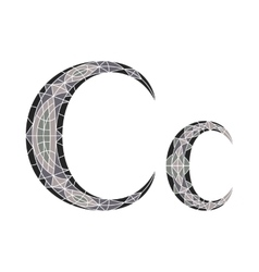 Low poly letter C in gray mosaic polygon vector