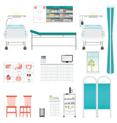 Medical equipment and furniture in hospital vector