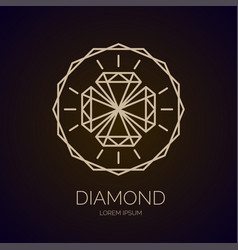Modern linear fashion logo diamond vector