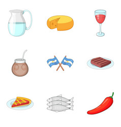 national cuisine icons set cartoon style vector image vector image