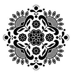 Norwegian black folk art Bunad pattern - Rosemalin vector