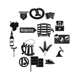oktoberfest party black simple icons vector image