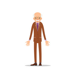 old man elderly man is stand and spreads his arms vector image