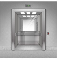 Open metal office building elevator with mirror vector