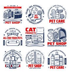Pet shop isolated icons with cat care supplies vector
