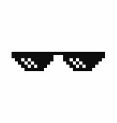 Pixel art glasses thug life meme glasses isolated vector
