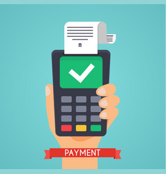Pos terminal in flat style pos payment flat vector