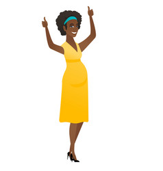 pregnant woman standing with raised arms up vector image