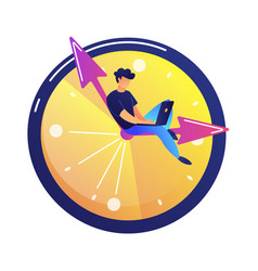 programmer working on laptop sitting on the hand vector image