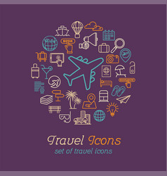 round line travel icons concept for traveling vector image