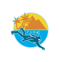Scuba Diver Diving Island Retro vector