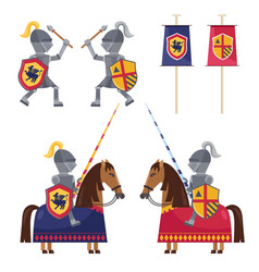 Set medieval knights and banner vector