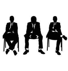 Set of businessmen sitting on chairs vector