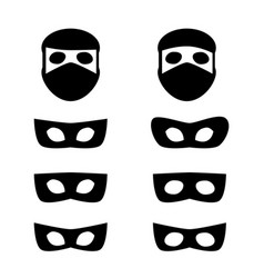 Set of festive masks and thief icon vector