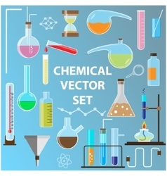 Set of laboratory flasks Chemistry objects in vector